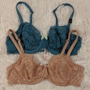 Victoria's Secret Demi Lace Bra Bundle 36 C